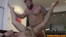 Straight muscle jock pounding roommates ass