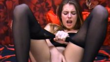 TEEN SLUT FROM UKRAINE MASTURBATING IN PANTYHOSE