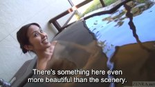 Subtitles Japanese mature Tae in outdoor onsen
