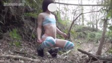 Horny asian female Teen Boy gets anal orgasm [Outdoor]