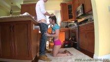 Step dad fucks friend's daughter in kitchen