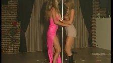 Two blondes poledancing