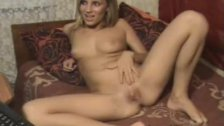 Amateur blonde on couch