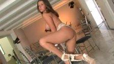 Hot 'n busty beauty stripping