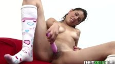 She loves to shove a dildo in her wet pussy