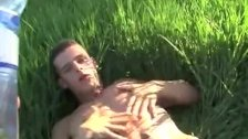 Mega cumshot in the grass