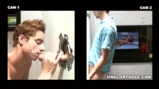 Guy gets his cock sucked by another guy