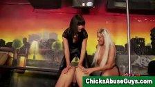 Strapon sadistic girls punish man