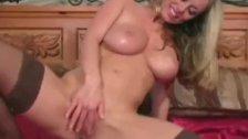 Big boobed blonde Anita in nylon hose