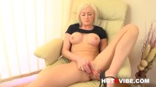 Blonde Euro babe Victoria plays with her pussy