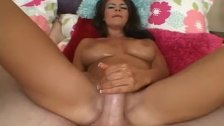 Brunette babe loves to tease a big dick