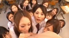 Beautiful Japanese schoolgirls exploring cock