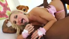 Two big black dicks for blonde