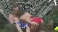 Fantastic sex action in hammock