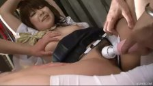 Two horny Japanese men attack Meina with oil