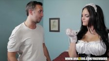 Incredibly hot French maid gets hard dick - brazzers