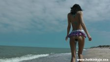 : Huge speculum in ass on public beach