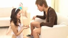 Maid Aki Anzai sucks a big dick dry