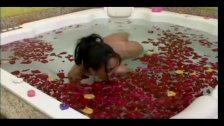 Horny couple bath fucking in roses