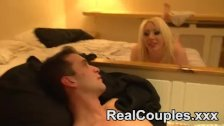 Real couple play on the bed