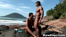 Gay Latino muscle hunks bareback fucking