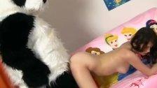 Teen cute girl with panda bear