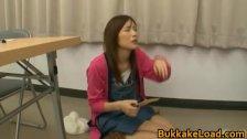 Asian babe gets bukkake load