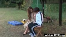 Ai Sayama Japanese babe has outdoor sex