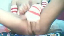 Skinny Shemale Strokes her Dick