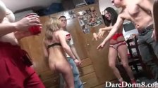 Drunk college teen dorm room orgy party
