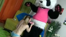 Panda with a pink dildo fuck girl