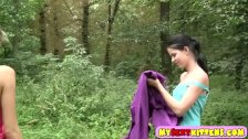 Sexy lesbian teens horny outdoors adventure