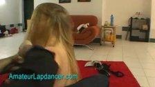 Blonde doing wild lapdance show