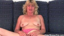 Fuckable grandma spreads her pussy