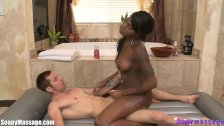 Ebony Beauty Gives a Sensual Soapy Massage