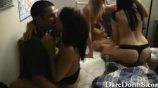Drunk college teens oral sex orgy at a dorm