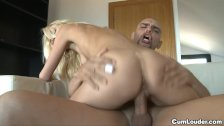 Horny blonde wants all your cum for her face