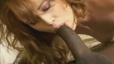 Black cock facefucks redhead