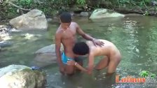 Latinos having oral and anal sex outdoors