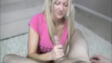 Hot Blonde Jerks A Naked Man's Cock