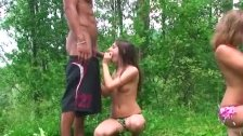 Cute college girls partying outdoor and fuck