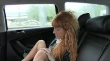 FakeTaxi Long red hair and shaved pussy