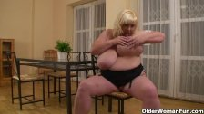 Mature bbw massages her massive mammaries