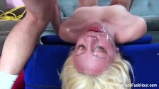 Cute blonde chick gets her face wrecked