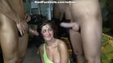 Hot busty chick in double penetration
