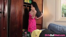 Girls Out West - Hairy asian lady with a toy