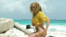 Karla Carrillos big tits and cock on a beach