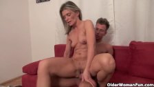Sexy mature mom sucks and fucks his cock