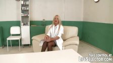 Femdom nurse plays with her patients