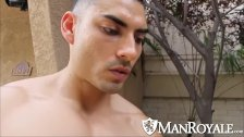 Manroyale Muscled Latino sucks during outdoor